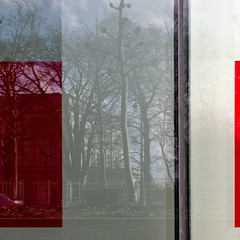 ligne rouge 41 (godelieve b) Tags: redline lignerouge fenêtre window reflection reflet abstraction abstract trees red lines brussels bruxelles