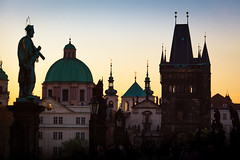 Pure morning in Prague (Mira Schwanzer) Tags: prague praga morning pure gold yellow historical history bridge shadow dusk dark place oldtown statue horizont sky tower