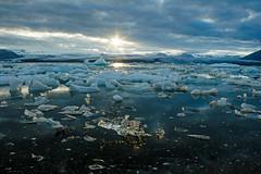 Jokulsarlon Lagoon Sunset (Iceland) (peterwaller) Tags: jokulsarlonlagoon iceland sunset horizon water ice glacier icefield cold