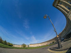 The Royal Crescent Bath (RS400) Tags: fish eye lens buildings art history bath cool wow amazing bend landscape olympus southwest uk light street lamp blue sky clouds outside
