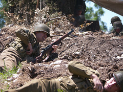 Actions on the Objective (greatbigphotoparty) Tags: wwii us army reenactment reloading m1 garand trench assault attack reload camp mabry 36th infantry division