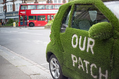 Grass Car (bhoyracer1) Tags: london bus red green unusual patch neighbourhood belonging ownership community n10 muswell hill