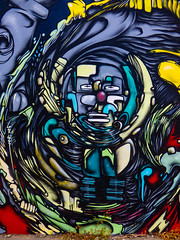 Ribs (Steve Taylor (Photography)) Tags: jacob yikes art graffiti mural streetart contrast colourful sad man newzealand nz southisland canterbury christchurch cbd city weeds face