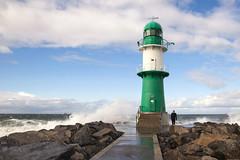 Warnemünde (Baltic Sea) (unukorno) Tags: warnemünde lighthouse storm deutschland waves balticsea clouds man