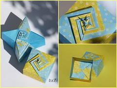 Four-Star Box & Cube Box Elegant by Toshikazu Kawasaki (esli24) Tags: origami origamibox toshikazukawasaki papierfalten origamischachtel sternschachtel esli24 ilsez fourstarbox cubeboxelegant