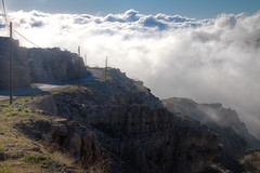 Great Drive (jrseikaly) Tags: road above street blue lebanon cloud mountain green beautiful fog clouds canon jack photography drive photo rocks heaven cloudy great north picture rocky pic calm minimal pole photograph wires zen 7d serene poles heavenly tannourine seikaly jrseikaly