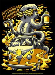Octopus (anggatantama) Tags: sea classic car animal vw illustration volkswagen spread vectorart tshirt octopus illustrator commission tee tshirtdesign combi vector angga anggatantama tantama becombicom