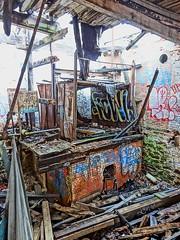second room FOWL.jpg (zen) Tags: usa building abandoned trash graffiti junk asheville decay room northcarolina fowl trashed abandonedbuilding cottonmill zensutherland 20130113