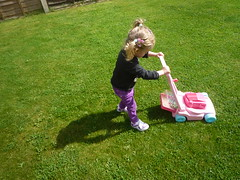 pushing the lawnmower like daddy (Ambernectar 13) Tags: toy afternoon child evelyn may saturday evie essex 2yearsold chelmsford 2014 lawnmover pushinglawnmowerjustlikedaddy