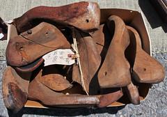 Box of Shoe Forms (skipmoore) Tags: wood shoe forms sanrafaelantiquesfair
