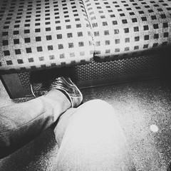 My old shoes (Sigur Olafson) Tags: blackandwhite travelling train subway blackwhite reisen shoes seat ontheroad takeaseat iphone5
