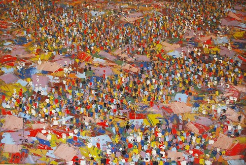 MARKET MAZE 1990, BY ABLADE GLOVER OIL  32X42 INCHES N1,550,000
