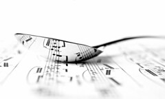 playing (with) chopin (brescia, italy) (bloodybee) Tags: bw music stilllife white macro reflection metal paper notes steel spoon number pentagram sheet highkey chopin sheetmusic nocturne 365project