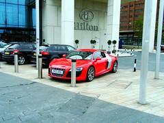 Liverpool (View of a Audi R8,outside the Hilton hotel) (Netty 78) Tags: greatbritain red england sports car liverpool germany automobile europe unitedkingdom muscle german europeanunion merseyside 2014 hiltonhotel audir8
