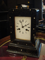 """FRENCH EBONIZED CASE SILK THREAD SUSPENSION TABLE CLOCK. • <a style=""""font-size:0.8em;"""" href=""""http://www.flickr.com/photos/51721355@N02/14391710516/"""" target=""""_blank"""">View on Flickr</a>"""