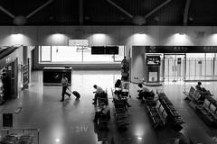 Waiting (sirouni) Tags: light shadow reflection monochrome mono airport gate waiting capital beijing  x100s peopleawaiting