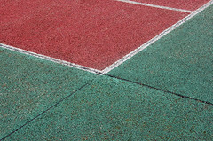 Tennis court (Jan van der Wolf) Tags: red abstract green lines groen diagonal tennis minimalism rood minimalistic lijnen minimalisme diagonaal tennisveld map5211v