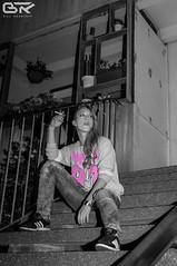 Dessau - surrounded by concrete (stralsunnerjunge) Tags: street old city portrait people bw woman color girl beautiful youth night germany concrete deutschland person blackwhite nikon apartment flat nacht cigarette smoke young portrt stadt block nikkor dslr citizen wohnung mdchen beton rauch dessau zigarette wohnen d90 bewohner strase urbaun
