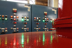 Light Show (Michael Mitchener) Tags: red reflection green panel buttons controlpanel pumpingstationm atp072014mgm