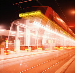 tram (_dreamseller_) Tags: longexposure 6x6 night train mediumformat square switzerland xpro lomography nacht crossprocess tram dia lubitel2 lubitel bern strassenbahn crossed langzeitbelichtung c41 mittelformat fujit64pro