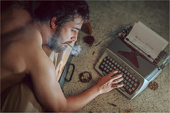 Day dreaming - Matej (Tomas.Kral) Tags: man typewriter canon studio 50mm cigarette smoke smoking 5d setup typing strobe markii speedlite strobist yn560ii