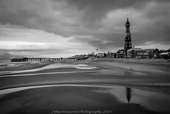 Blackpool (JRT ) Tags: sea people reflection tower beach clouds pier blackwhite seaside high cool sand nikon iron cloudy seagull windy icon scaffold blackpool grandpier d40x jrwphotography johnwarwood flickrjrt jrwphotographycouk