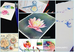 030_2014_07_26_01_s (blue_belta) Tags: flower moleskine japan illustration ink sketch bottle waterlily lotus jewelry sketchbook ring sweets  fountainpen japanesefood tempura   montblanc raindrop coloredpencil colorpencil   washoku          wasyoku