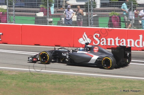 Adrian Sutil in his Sauber in Free Practice 2 at the 2014 German Grand Prix