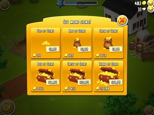 Hay Day Virtual currency Bank: screenshots, UI