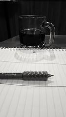 Day 55 Of 365 Days Of Coffee (SarahJDhue) Tags: newsprintfilter blackandwhite bw sarahjdhue sarahjdhuephotos samsung galaxys6 cellphone 55 pen coffee coffeeshop maevas alton il illinois 2017 challenge photo profile 365daysofcoffee 365 score notebook