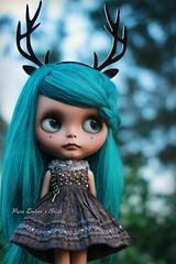 A blue evening (pure_embers) Tags: pure embers blythe doll dolls laura england uk custom sammydoe tan briar embersbriar takara neo teal hair alpaca reroot girl photography kuloft deer headband dollyjane