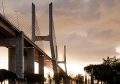 The Vasco da Gama Bridge (olegfilatov) Tags: река васкодагама лиссабон мост португалия рассвет