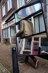 Walking decor @ Utrecht (PaulHoo) Tags: utrecht holland netherlands people streetcandid street candid streetphotography 2017 urban citylife art streetart graffiti color decor reflection humor fun