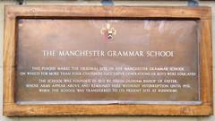 Manchester Grammar School Sign, England (rossendale2016) Tags: england wall plaque sign school grammar manchester