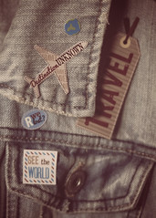 ~The more difficult it is to reach your destination, the more you'll remember the journey. (Fire Fighter's Wife) Tags: vintage jean jeanjacket jacket pins plane travel earth destination journey adventure nikon pentacon1850mm pentacon50mmf18 pentacon vintageprocessing vintagelens retroprocessing retro flare nikond750 texture fabric muted mutedcolors mutedhues mutedshadows faded fadedcolors fadedhues softcolors softhues softhaze softlight lightandshadow 49travel 52 52in2017