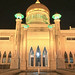 Night shot of the Sultan Omar Ali Saifuddin Mosque