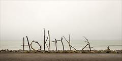 hokitika-6341-ps-w (pw-pix) Tags: rock rocks sticks letters word name placename unusual interesting coast coastline sea ocean beach stones cloud haze mist damp grey overcast dull hokitika westcoast southisland nz newzealand
