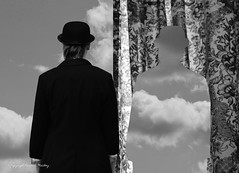 Surreal Mood - Explore 03/27/2017 (Little Hand Images) Tags: sky curtain bowlerhat blackandwhite surrealism magritteish
