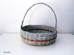 Newspaper easter basket (Ekorello) Tags: basket easter recycle craft handmade unique weaved