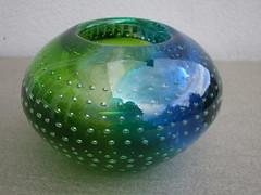 Stunning Green & Blue Murano ?  Art Glass Vase Mid Century Modern (beetle2001cybergreen) Tags: stunning green blue murano art glass vase mid century modern