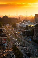 Golden sunset in Rotterdam (Anthony Malefijt - www.malefijtfotografie.nl) Tags: rotterdam city cityscape sun sunset traffic gold sky composition orange landscape portrait nikon wwwmalefijtfotografienl