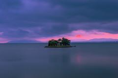 sunset 8022 (junjiaoyama) Tags: japan sunset sky light sun cloud weather landscape pink purple contrast colour bright lake island water nature spring rain