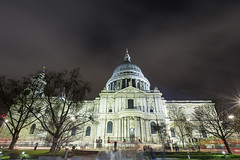 20170405_F0001: London busses, tourists and the Cathedral (wfxue) Tags: stpauls stpaulscathedral cathedral church dome stature trees street light houses buildings london bus trail red road city centre night people traffice sky clouds longexposure