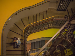 going down colour (Mariasme) Tags: stairs fromabove goingdown woman colour