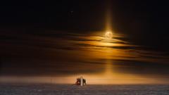 IceCube and the full Moon (redfurwolf) Tags: southpole antarctica icecube icecubelab full moon fullmoon sky clouds build snow ice dark night longexposure redfurwolf sonyalpha a99ii sal70200g2 sony