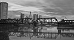 Columbus, OH (brutus61534) Tags: columbus neutral density filter nd8 long exposure 30sec bnw bw black white skyline buildings river water trestle