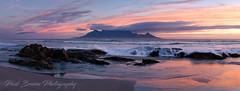 Table Mountain - Pet Rock Pano (Panorama Paul) Tags: paulbruinsphotography wwwpaulbruinscoza southafrica westerncape capetown tablemountain blaauwbergbeach multicamerapanorig pink orange waves beach rocks sunset nikond800 nikkorlenses nikfilters panorama