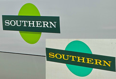 Southern's New Logo (Deepgreen2009) Tags: marketing southern railway train 377311 redhill comparison logos new old redesign variation toc roundel transport