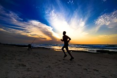Running at sunset - Tel-Aviv beach (Lior. L) Tags: runningatsunsettelavivbeach running sunset telaviv beach sea silhouettes runner nature telavivbeach sport sky