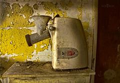 The Daily Grind (f.o.s.) Tags: abandonedfarm abandoned abandonedontario urbex urbanexploration alone meat grinder light yellow paint peelies peeling dirty dirt farmhouse